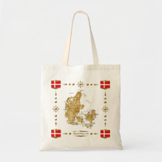 デンマークの地図 + 旗のバッグ トートバッグ