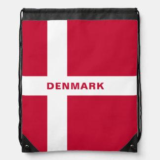 デンマークの旗のドローストリングのバックパック ナップサック