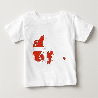 デンマークの旗の地図 ベビーTシャツ