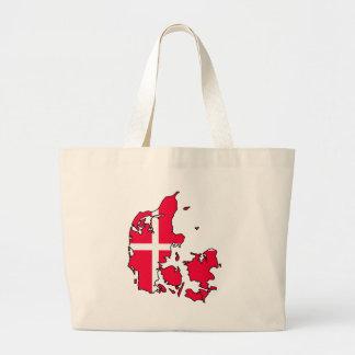 デンマークの旗の地図 ラージトートバッグ