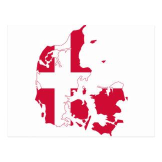 デンマークの旗の地図DK ポストカード