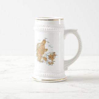 デンマークの旗の~の地図のマグ ビールジョッキ