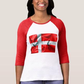 デンマークの旗3/4の袖のTシャツ Tシャツ