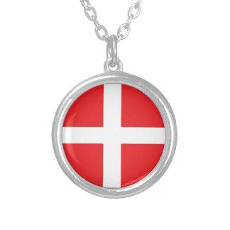 デンマークの旗 シルバープレートネックレス