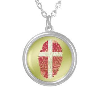 デンマークのtouchの指紋の旗 シルバープレートネックレス