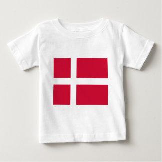 デンマークまたはデンマークの布の旗 ベビーTシャツ