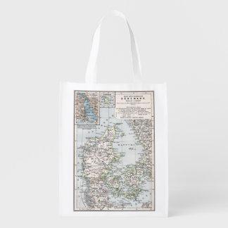 デンマーク、DanishのDanmark、1905年の旧式な地図 買い物袋