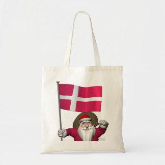 デンマークDannebrogの旗を持つサンタクロース トートバッグ