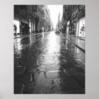 トゥーリンイタリア、ぬれた通りの夕べ ポスター