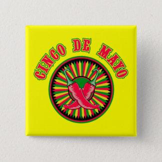 トウガラシのCinco deメーヨーボタン 5.1cm 正方形バッジ