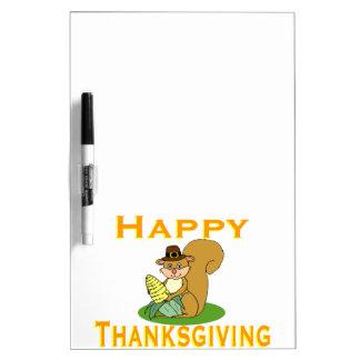 トウモロコシが付いている幸せな感謝祭のシマリス ホワイトボード