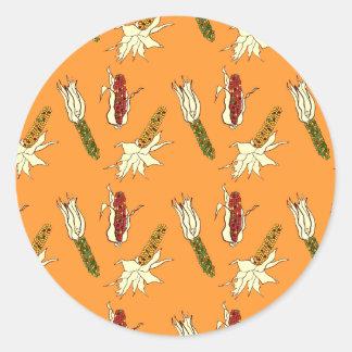 トウモロコシの皮: 黄橙色のステッカー ラウンドシール