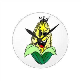 トウモロコシの顔 ラウンド壁時計