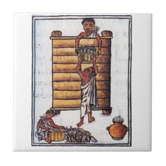 トウモロコシを貯えているアズテック人 タイル