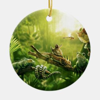 トカゲのカエルのジャングルのハ虫類の景色 セラミックオーナメント