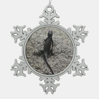トカゲ スノーフレークピューターオーナメント