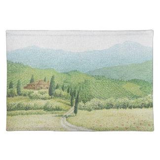 トスカナ式のブドウ園、パステル調のランチョンマットのイタリア ランチョンマット