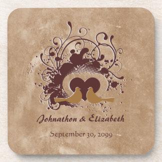 トスカナ式のブラウン愛鳥の結婚記念日 ビバレッジコースター