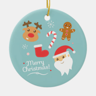 トナカイおよびジンジャーブレッドとのかわいいメリークリスマス セラミックオーナメント