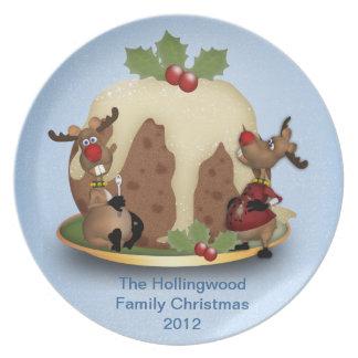 トナカイが付いているカスタムな家族のクリスマスのプレート プレート