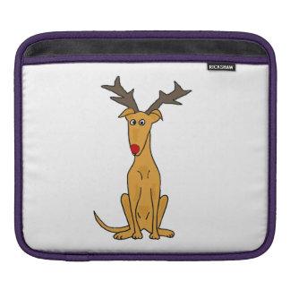 トナカイとしておもしろいなクリスマスのグレイハウンド犬 iPadスリーブ