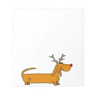 トナカイとしておもしろいなクリスマスのダックスフント ノートパッド