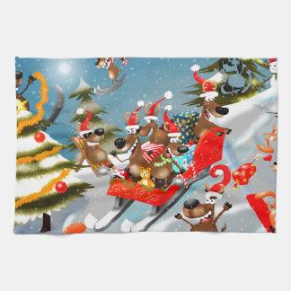 トナカイのクリスマスのそりの乗車 キッチンタオル