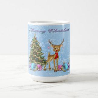 トナカイのクリスマスツリーのクリスマスの球根 コーヒーマグカップ