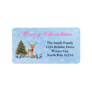 トナカイのクリスマスツリーのクリスマスの球根 ラベル