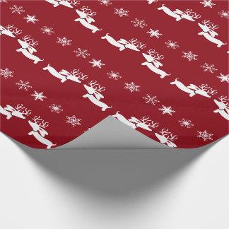トナカイのダックスフントの雪片のギフト用包装紙の包むこと ラッピングペーパー