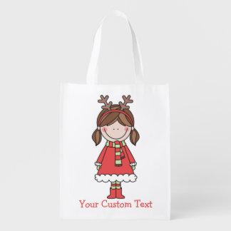 トナカイのヘッドバンドおよびピグテールを持つクリスマスの女の子 エコバッグ