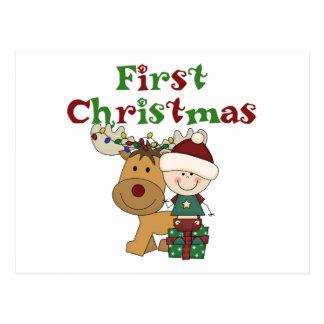 トナカイの初めてのクリスマスのTシャツおよびギフト ポストカード