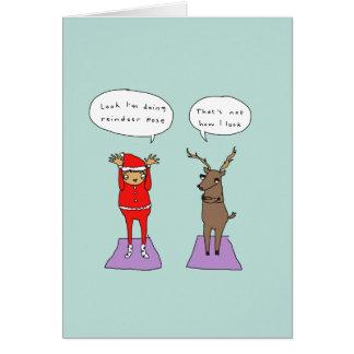 トナカイの姿勢|のおもしろいなヨガの喜劇的なクリスマスカード カード