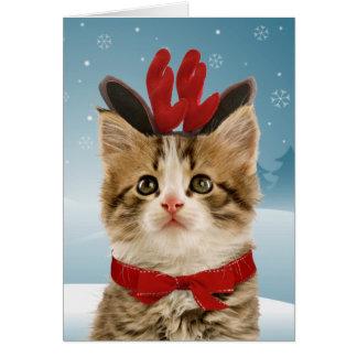 トナカイの子ネコのクリスマスカード カード