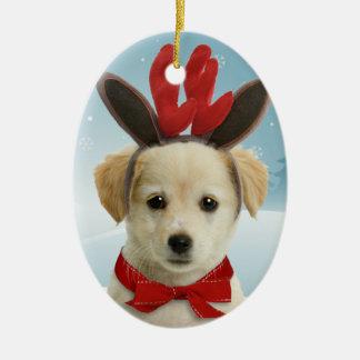 トナカイの子犬のクリスマスのオーナメント セラミックオーナメント