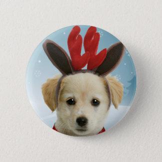 トナカイの子犬のクリスマスボタン 5.7CM 丸型バッジ