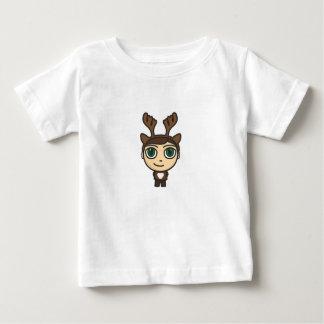 トナカイの男の子のマンガのキャラクタの乳児のTシャツ ベビーTシャツ