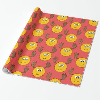 トナカイのEmojiのカスタマイズ可能な微笑の包装紙 ラッピングペーパー