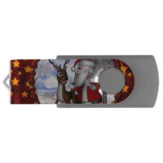 トナカイを持つおもしろいなサンタクロース USBフラッシュドライブ