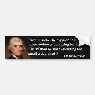 トマスのジェファーソンによって露出される自由 バンパーステッカー