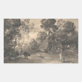 トマス・ゲインズバラ-姿との樹木が茂った景色 長方形シール
