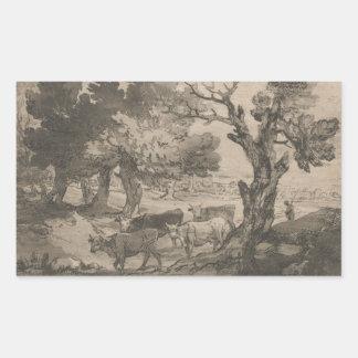 トマス・ゲインズバラ- Herdsmの樹木が茂った景色 長方形シール