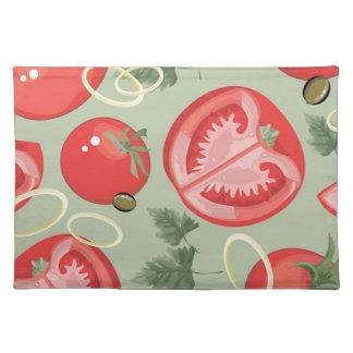 トマトが付いている抽象的なパターン ランチョンマット