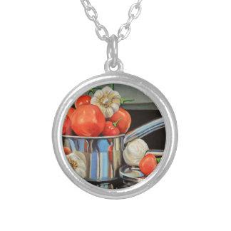 トマトのコショウのニンニクのメドレー シルバープレートネックレス