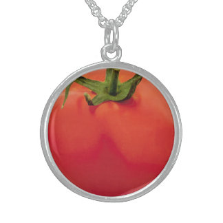 トマトの中型の純銀製の円形のネックレス スターリングシルバーネックレス