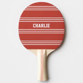 トマトの赤のストライプのカスタムなモノグラムのかい 卓球ラケット
