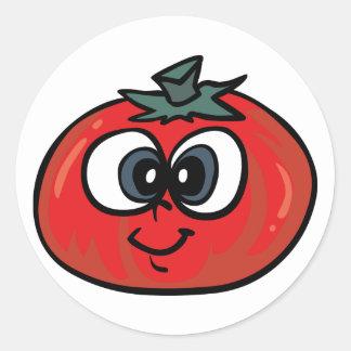 トマトの顔のステッカー ラウンドシール