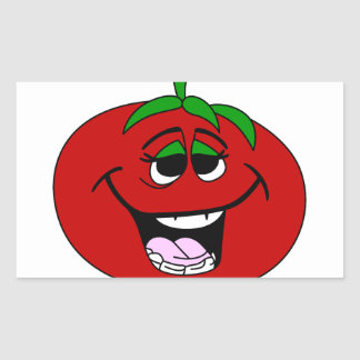 トマトの顔 長方形シール