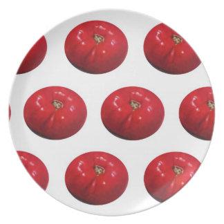 トマトパターン: 油のパステルの芸術 プレート