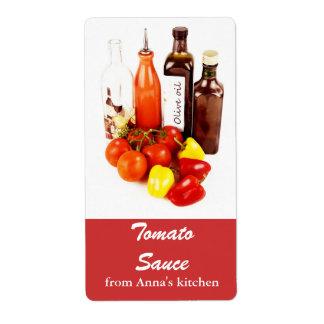 トマト、ピーマンおよびオリーブ油のボトル ラベル
